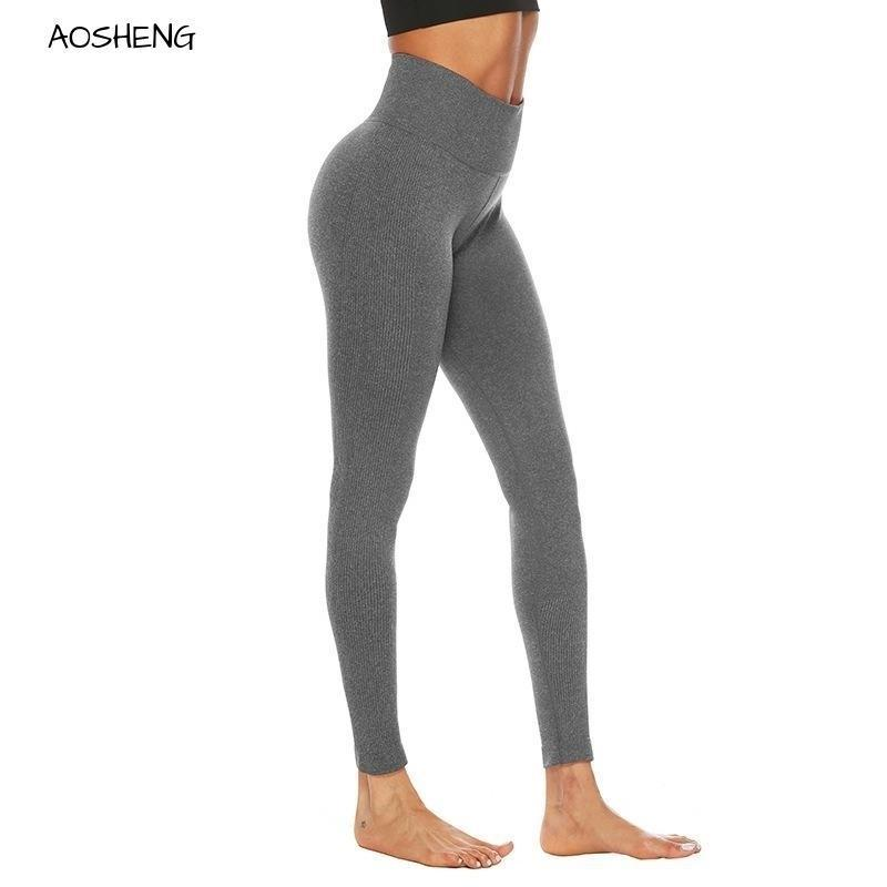 Gris sin costuras Leggings Negro Alto Cinturón Entrenamiento Leggings Fitness Mujeres Casual Primavera Verano Deporte Jogging Jeggings XL 201203