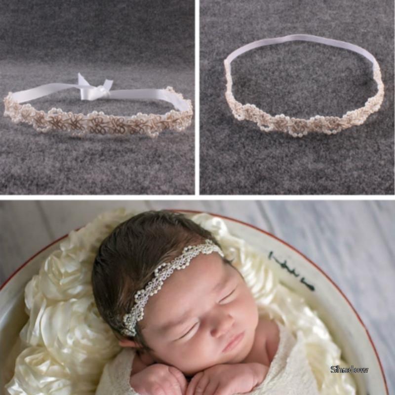 Nouveau-né Photographie Props bébé Bandeau perle Hairband infantile Séance photo Decortations photo de bébé Couvre-chef Princesse Bandeau