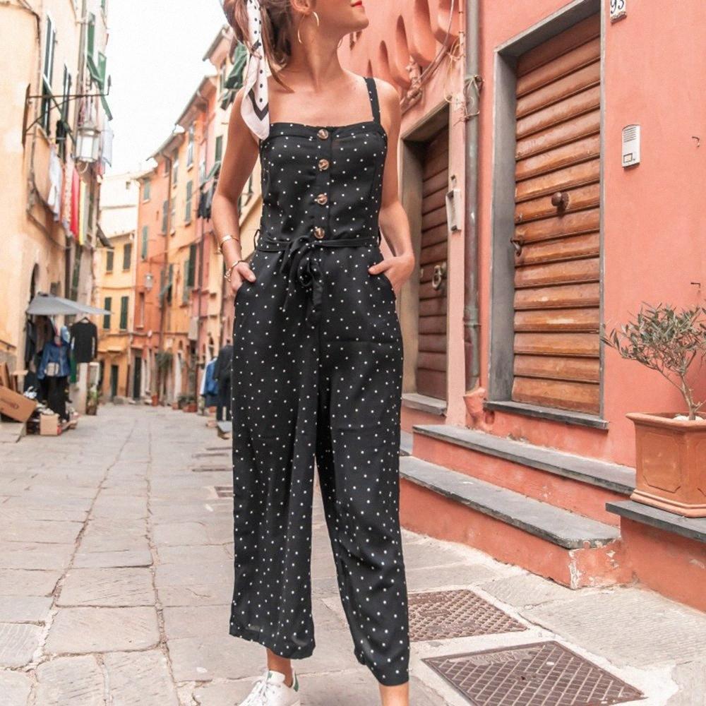 Sexy Black Polka Dot Imprimer Spaghetti Strap manches Combinaison large Tunique lacent Romper femmes Vêtements d'été Streetwear WAGP #