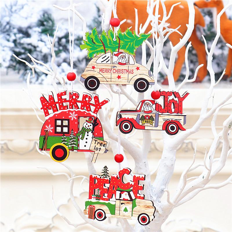 Wood Christmas Tree Ornaments Creative Santa Claus Snowman Car Wooden Christmas Pendants Ornament Xmas Tree Hanging Decoration DBC BH4246