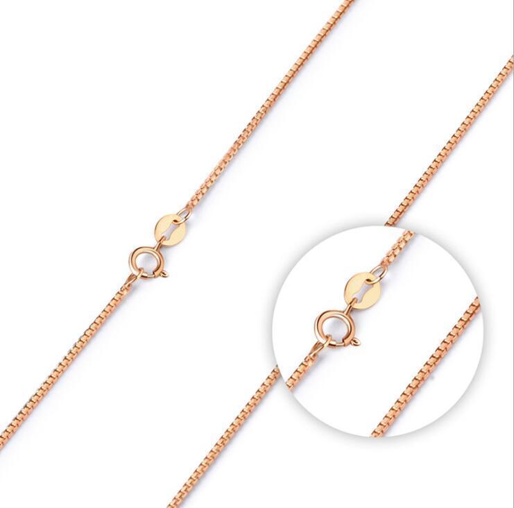 Collares de la cadena de la caja de oro de la rosa Moda 925 Silver Women DIY Joyería Collar 1mm 18 pulgadas al por mayor