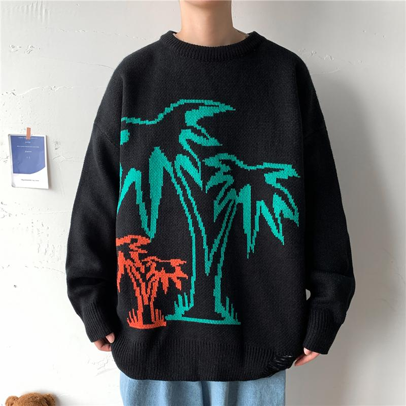 2021 Neue Korea Mode Oansatz Pullover Herren Hip Hop Streetwear Pull Übergroße M-5XL Lange Ärmel Pullover Für Herbst Frühling Winter LC5N