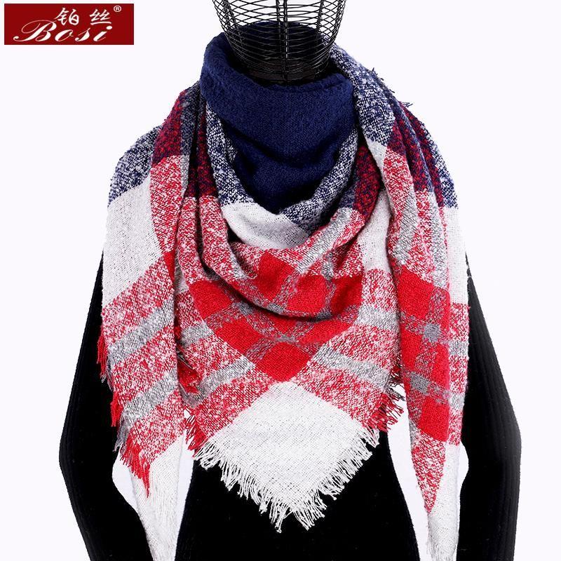 Зима кашемир плед шарф платок sjaal женщина пончо треугольник бандан дизайнер обруч больших палантины роскошь