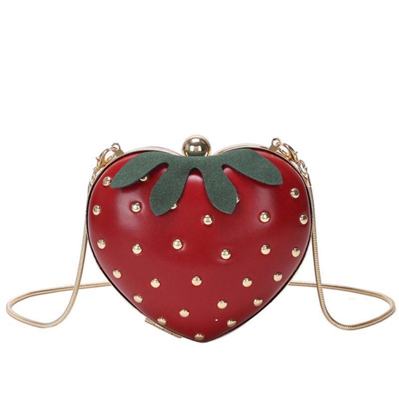 Frauen Satchel Schulterkupplung Crossbody Handtasche Fruchtmädchen Erdbeer Stil Form Nette Tasche Geldbörse APSOF