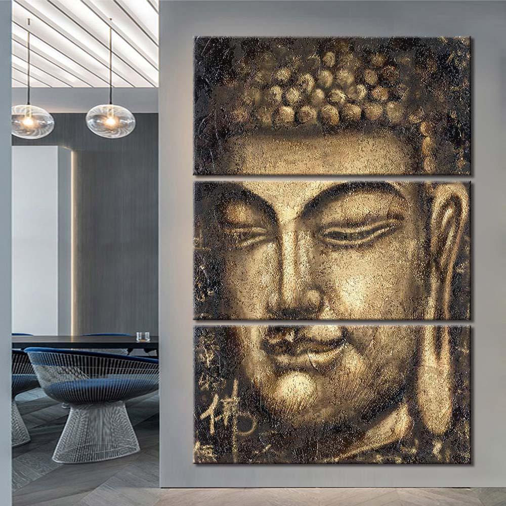3 шт холсте Аннотация Золотой Будда статуя стенописи Фотографии для гостиной Современные холстины