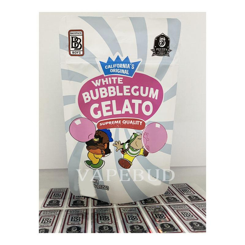 White Bubblegum Gelato 30 Arten Rucksack Boyz Mylar Bag Cookies Geruchssicher Kinderbeständige Verpackung mit 3D Hologramm Aufkleber