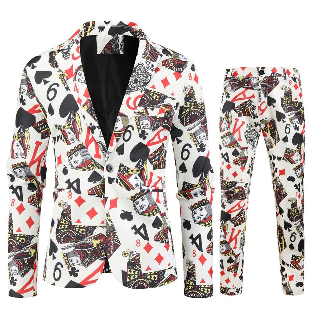 Новая мода Blazer 2 шт костюмы (блейзеры + брюки) для Mens Man Slim Fit печати костюмы Set