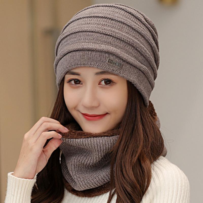 Chapeau de foulard Set Hommes Femmes Épais Chaud Hiver Bonnet Chapeau avec Bague Écharpe Femelle Bonnet Mâle Bonnet Bonnet Hiver Accessoires d'hiver