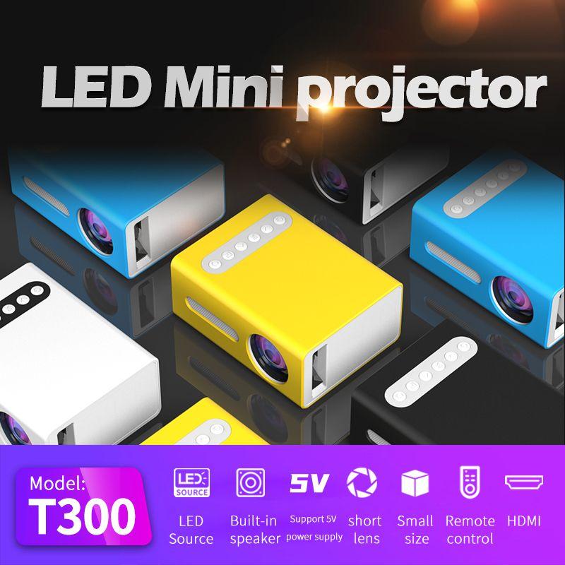 Мини портативный ЖК-проектор T300 Pocket Светодиодные проекторы Home Movie Media Player HDMI 1080P Чистый, чем YG300 YG220 Beamer