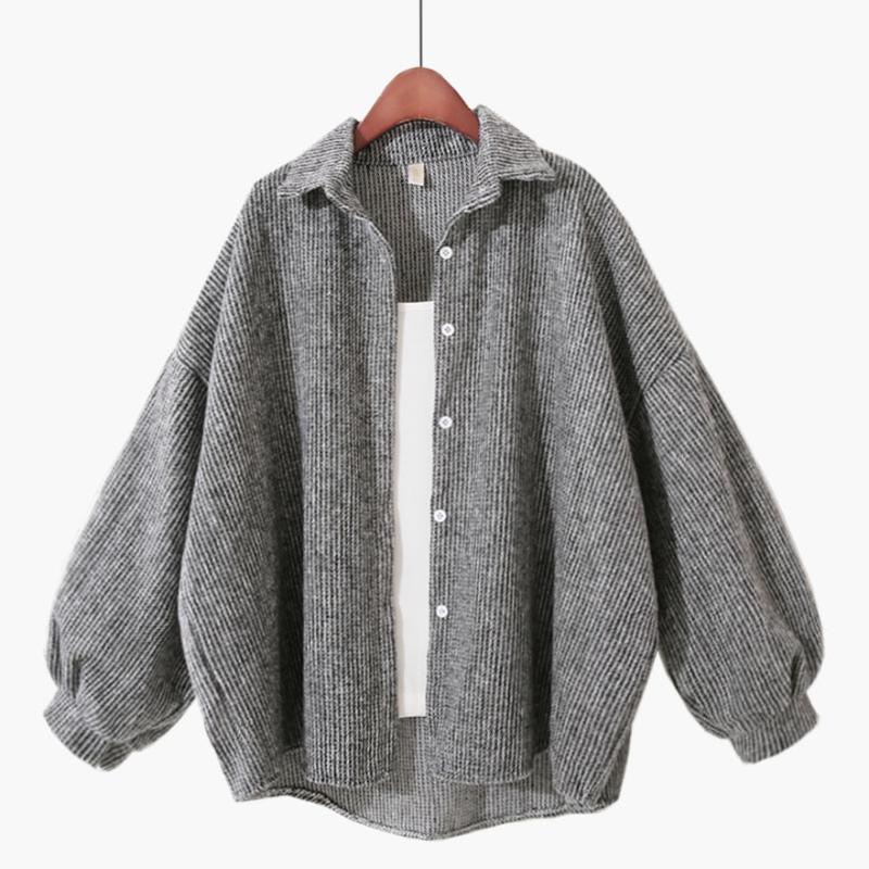 Le donne sottili di lana allentate casual casual top shirt top feminino manica piena preppy style coat outwear giacca camicetta top Blusas