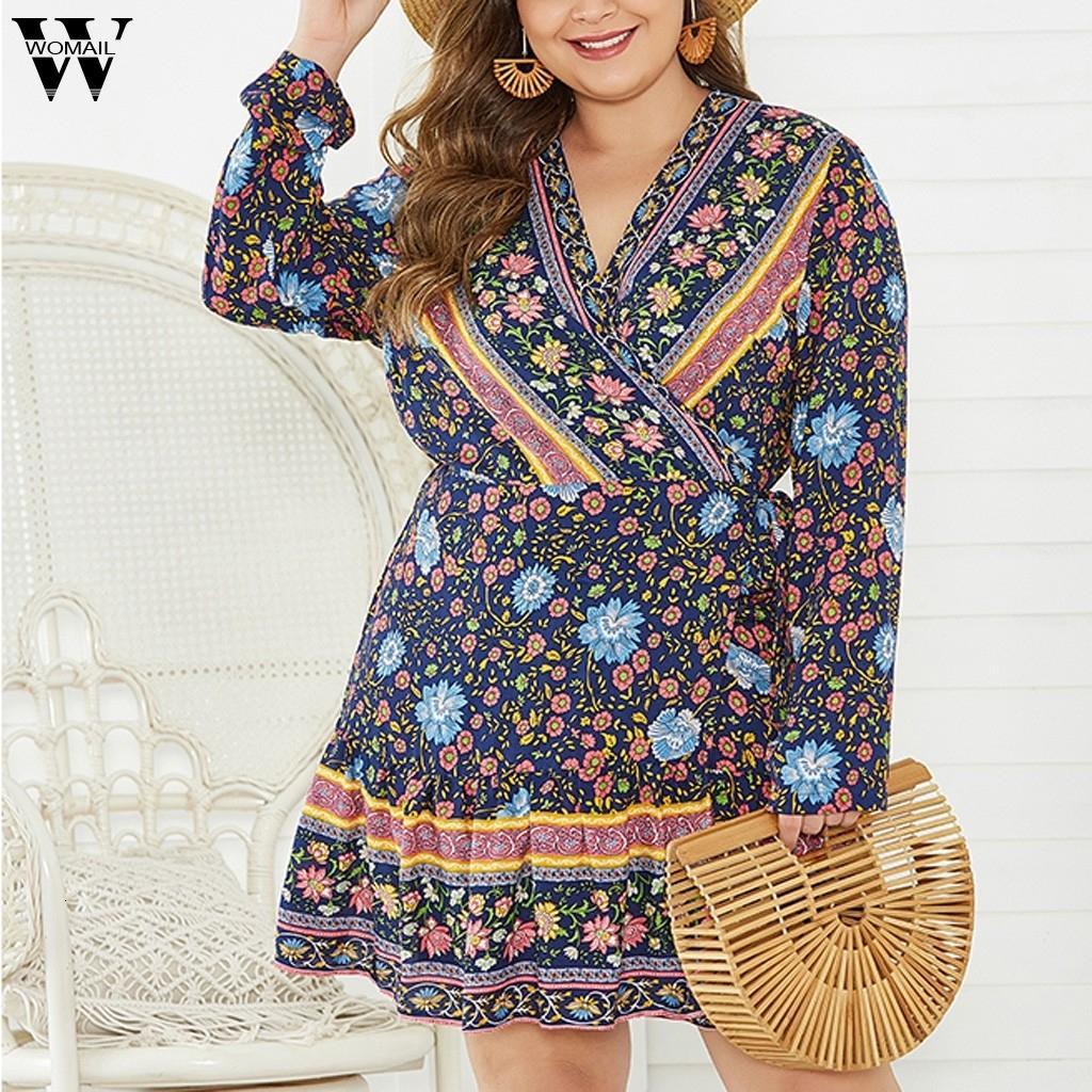 Womail más el tamaño de las mujeres hasta la rodilla vestido de Bohemia V-cuello atractivo de las flores Casual manga de la impresión de la manera larga Bosmia Vestidos noviembre