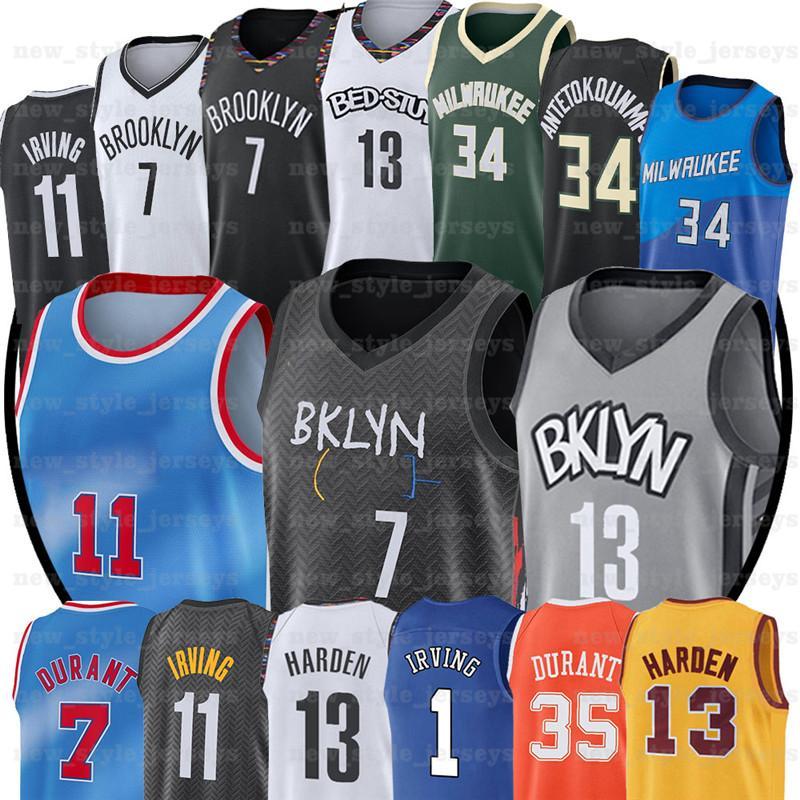 7 Kevin 34 Giannis 11 Kyrie Durant City Jersey 2021 Irving Antetokounmpo NCAA Jerseys de basquete
