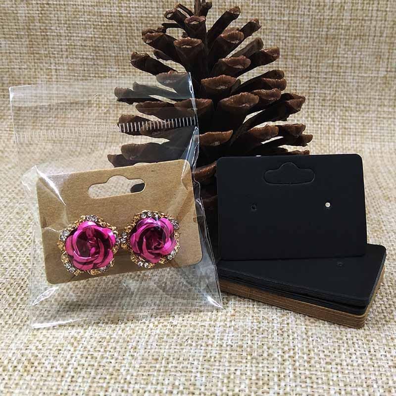 5 * 3.5cm leere braun / schwarz Bolzenohrring Karte individuellen Logo kostet extra Schmuck-Anzeigen Ohrring Karte 100pcs Verpackung + 100plastic Beutel