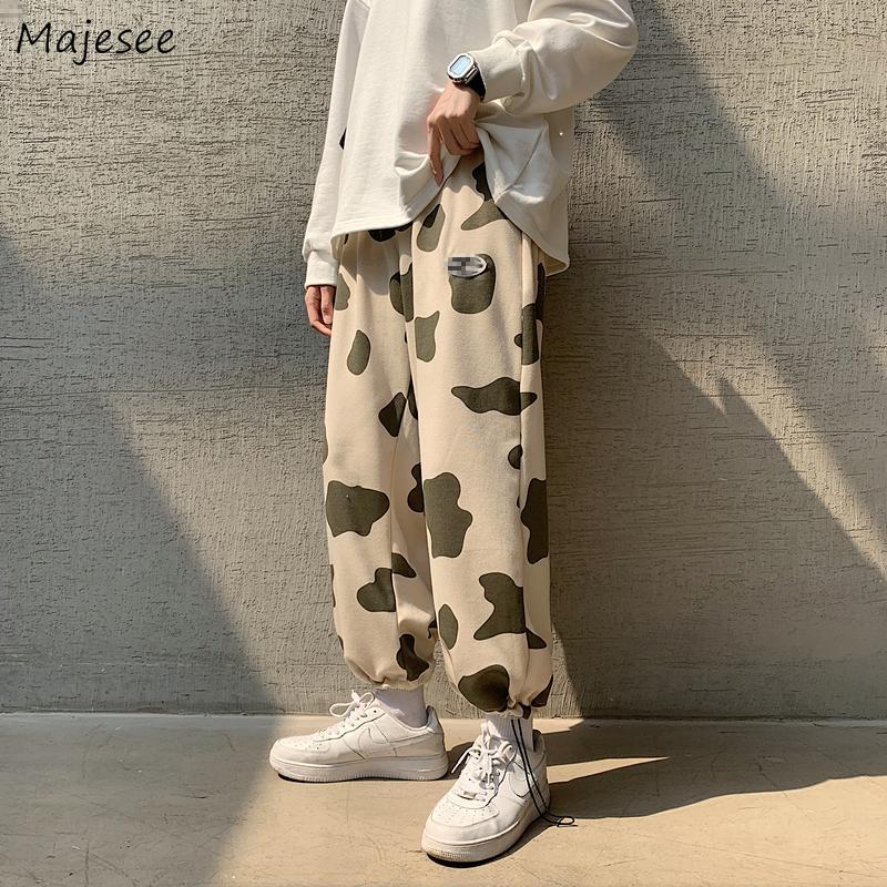 Erkekler Pantolon Kış Kalınlaşmak İnek Baskı İpli Boy 3XL Erkek Sweatpants Dış Giyim Dipleri Parça Nedensel Tüm Maç Cosy Ins Chic X1228