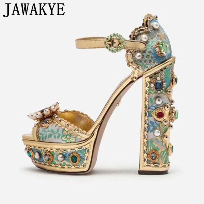 Aqua Blue Gemstone Piattaforma Sandali Super High Heel Metallo Decor Scarpe da festa di lusso Donne Donne Formali Sandali da sposa Sandali da sposa1