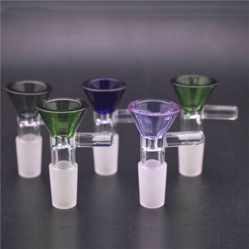 10mm 14mm 18mm Male female Herb Dry Bowl with handle Cheap Smoking Glass Bowl Tobacco for water Bongs Funnel Rig Smoking Accessories