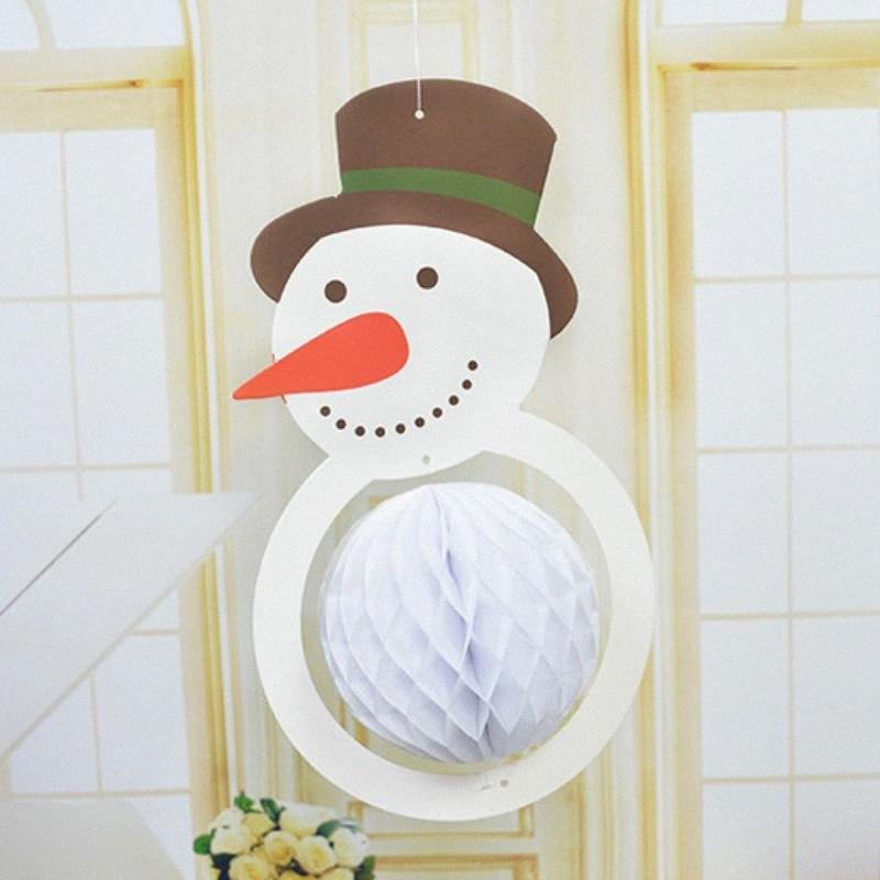 Honeycomb festa de Natal Bola de Papel Árvore de Natal criativo Hat Snowman decorações do Xmas Pingente Gota Ornamentos Fontes Xrym #