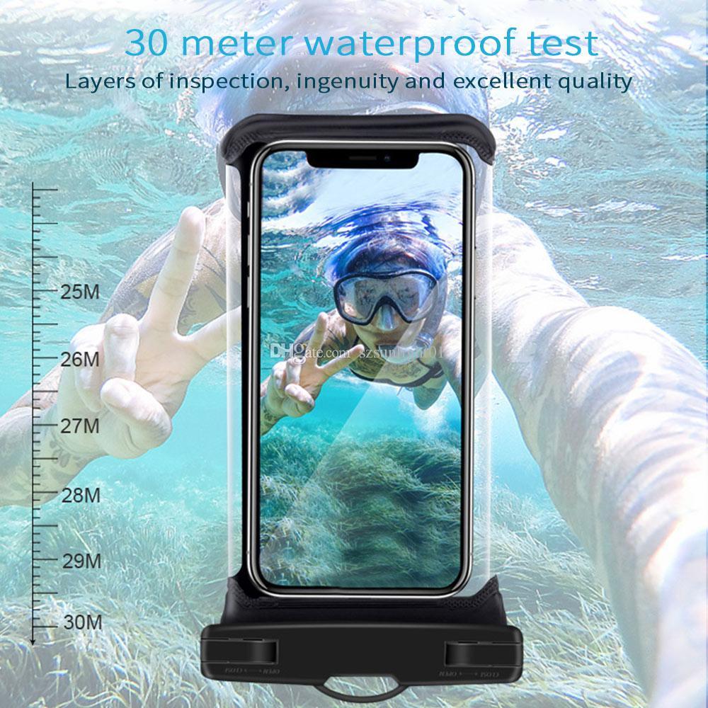 NoctiLucent Водонепроницаемый Сумка ПВХ Защитные Мобильные Телефонные Четыре Чехол Чехол Для Дайвинга Плавательный Спорт IPhone 6 7 Plus S Примечание