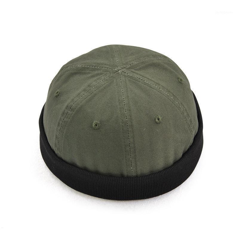 Bereliler Retro Erkekler Unisex Şapka Skullcap Sailor Cap Docker Haddelenmiş Manşet Blimless Faddish 1