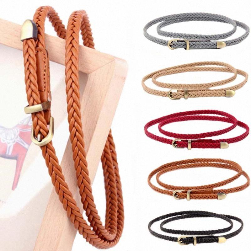 New Braided Thin Belt For Dress Female Pin Buckle Strap Hand Woven Belt Skinny Waistband 1p5M#