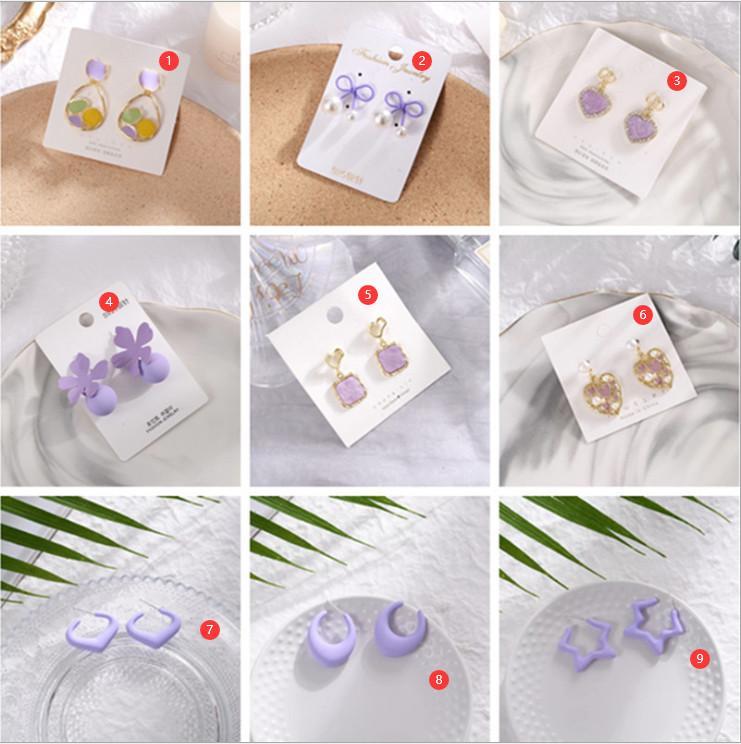 Printemps de luxe Summer S925 Silver Pin aiguille Purple Gold Fashion Simple Petite Fille Coréen Fleur De La mode en vrac Boucles d'oreilles en vrac Bijoux pour femme