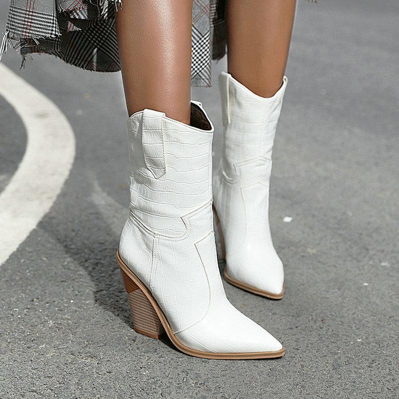 Women's 2020 otoño cuero plutonio cuña en tacones alto tobillo señaló al invierno vaquero de moda occidental botas blancas negras 50ki