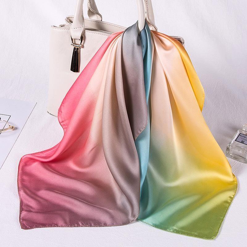 Women silk scarf square silk scarves NeckerChief satin kerchief for girls rainbow color printed fahsion neck hair scarfs