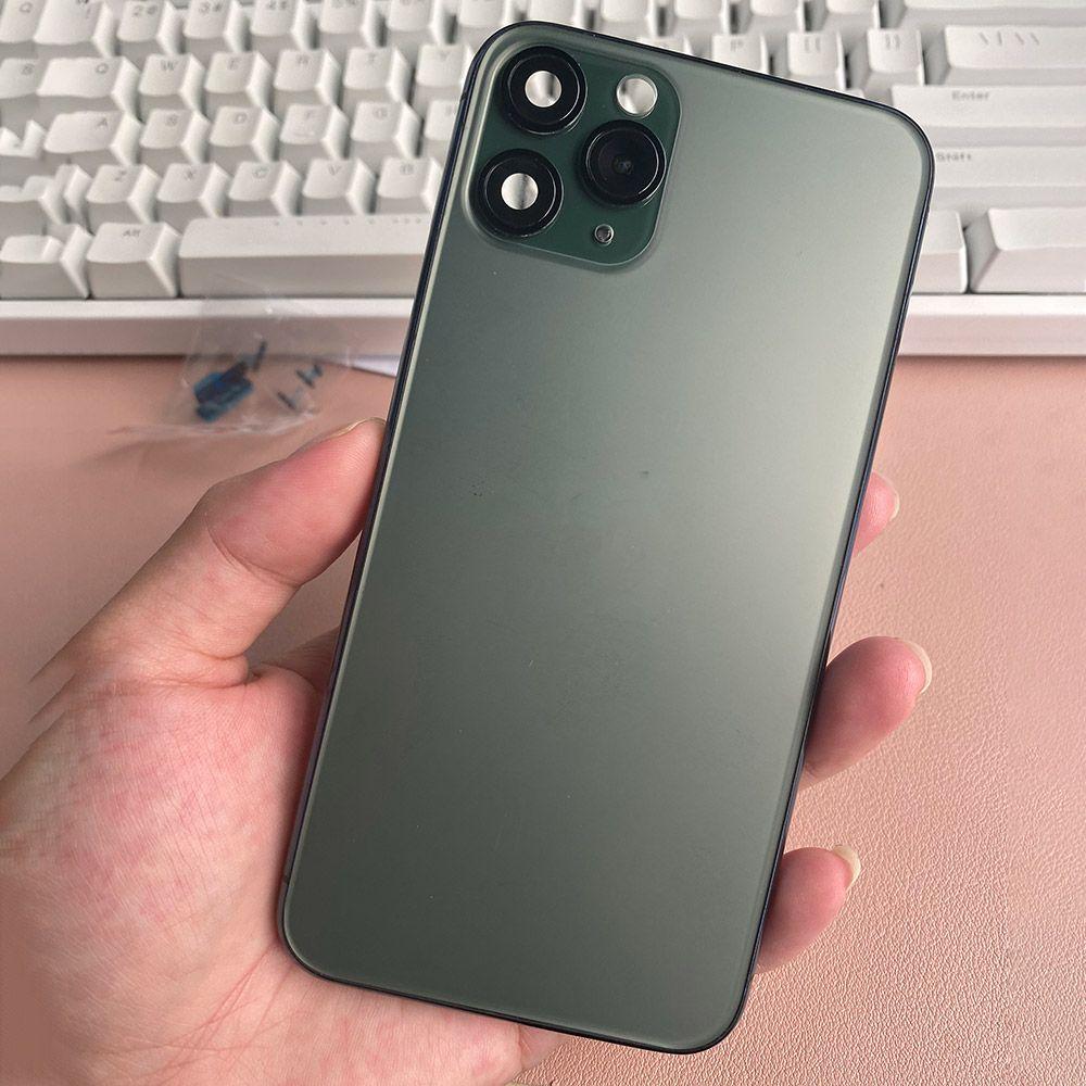 Carcaça de tampa traseira preta para iphone x xs mas como 11 Pro / 11PRO MAX METAL de alumínio traseiro da bateria da bateria Substituição