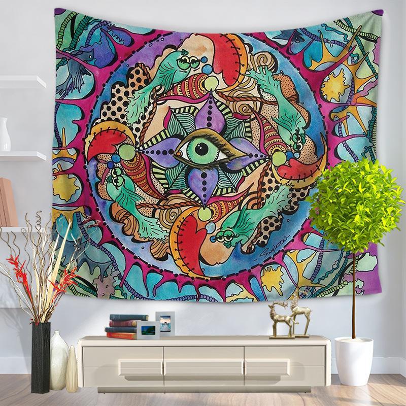 Duvar Asılı Goblen Fil Haritası Baskı Plaj Havlusu Şal Bohemian Mandala Yoga Paspaslar Masa Örtüsü Polyester Goblenler Ev Dekoru 110 N2