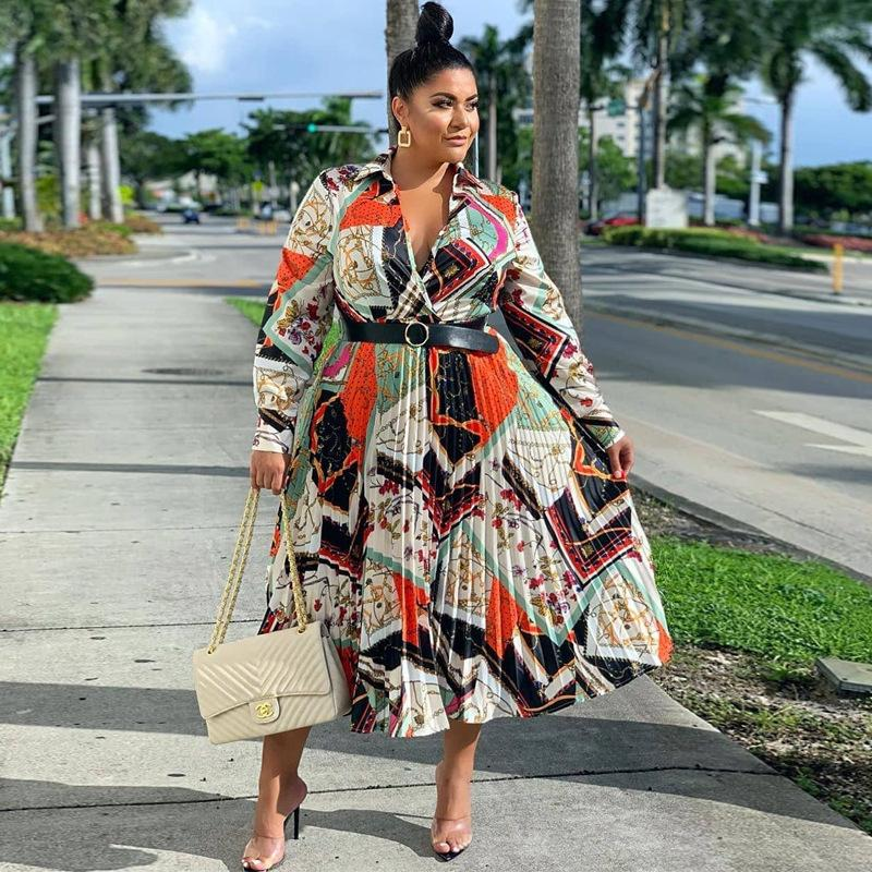Плюс Размер одежды африканского лето женщин Maxi платье Vintage пояс Печать с длинным рукавом Буба Africain Femme Vestidos 201015