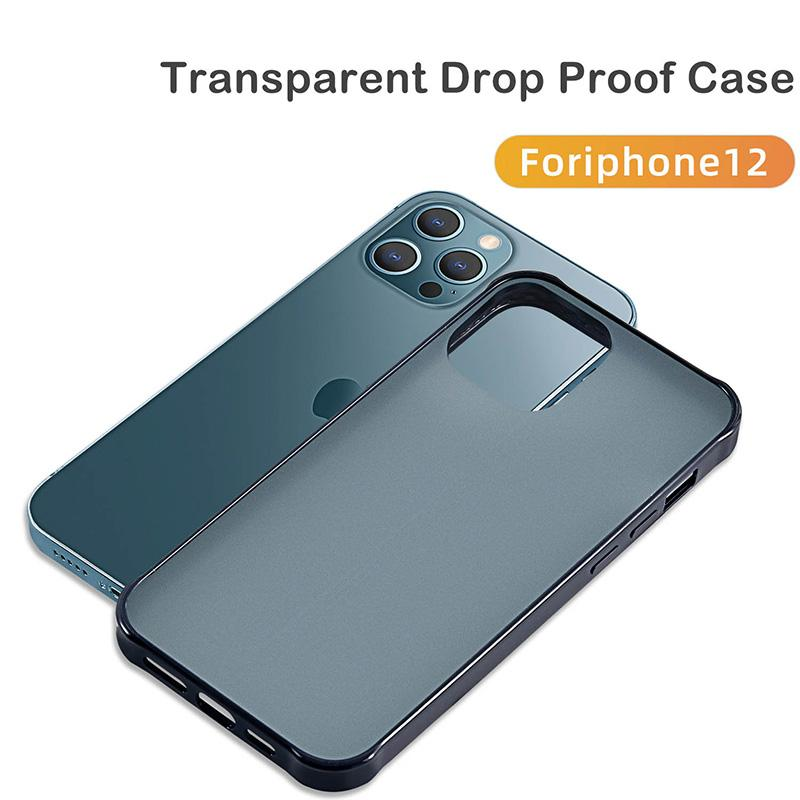 A prueba de golpes Matte Translúcido Hard Hard PC Funda Atrás Soft TPU Funda telefónica para iPhone 12mini 12 11 Pro Max XR XS MAX 7 8PLUS