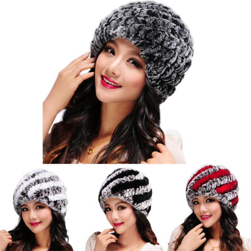 Femmes fausse fourrure chapeaux d'hiver Fluffy Préchauffage Rex cheveux main chaud Casquettes Femme Coiffures hirsute doux Chapeau Bonnet Cap