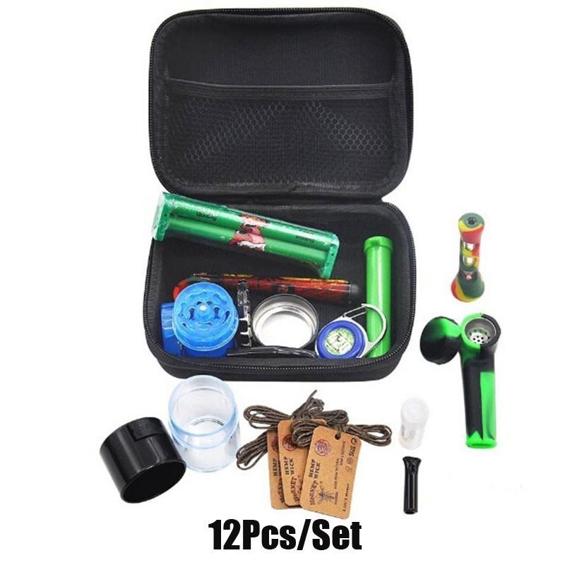12Pcs / Set Premium-Tabakbeutel Set Kunststoff Rauchen Grinder Vorratsdose Metalldose Silikon-Pfeife One Hitter Dugout Rollmaschine