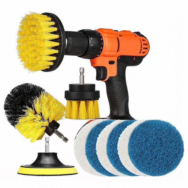 11 pc di alimentazione dell'impianto di lavaggio della spazzola trapano pennello pulito per il bagno superfici della vasca di fughe Cordless Potenza Scrub pulizia 76p4 #