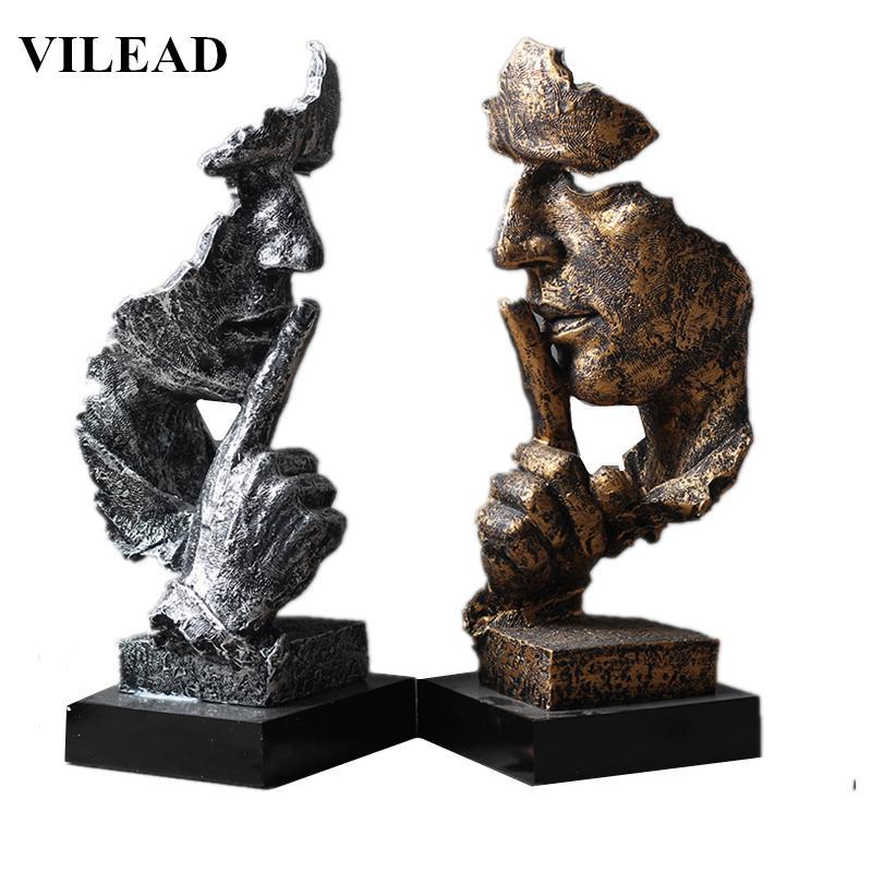 Vilead 32 سنتيمتر الراتنج الصمت هو قناع الذهب تمثال مجردة الحلي الحلي القناع النحت الحرفية ل مكتب خمر ديكور المنزل T200624
