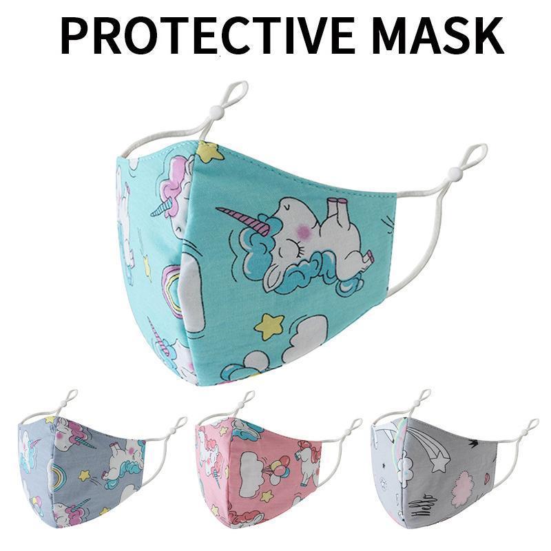 Imprimé arc-en-Unicorn Kids Designer de protection réglable Masque poussière et Haze respirante Masques Visage Dha445