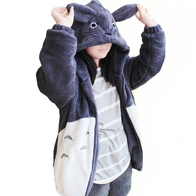 Mit Kapuze Sweatshirt Kawaii Totoro Männer Frauen Harajuku Weiche Plüsch Hoodies Plus Size Übergroße Cosplay Jacke Mantel Lose Sweatshirt Y200610