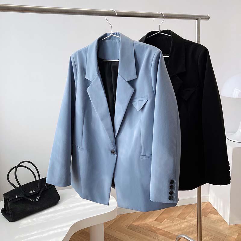 Abiti da donna Blazer Single Giaccina Blue Blazer Giacca Autunno 2021 Design Nicha One-Button