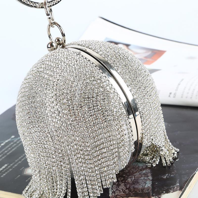 Ball bag Rhinestone The clutch tassel Party bags with bracelets removable handle open satin with diamonds handbags luxurys desingers bags