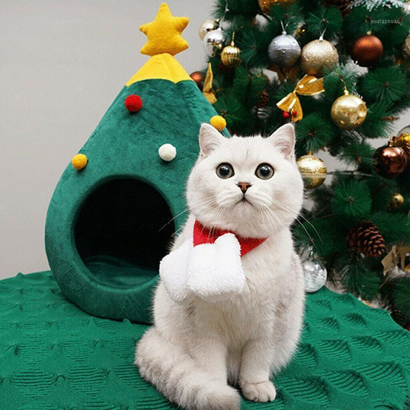 Natale pet cat casa cane letto kennel cucciolo caverna caldo dormire letto albero di natale forma albero inverno caldo foro pet1