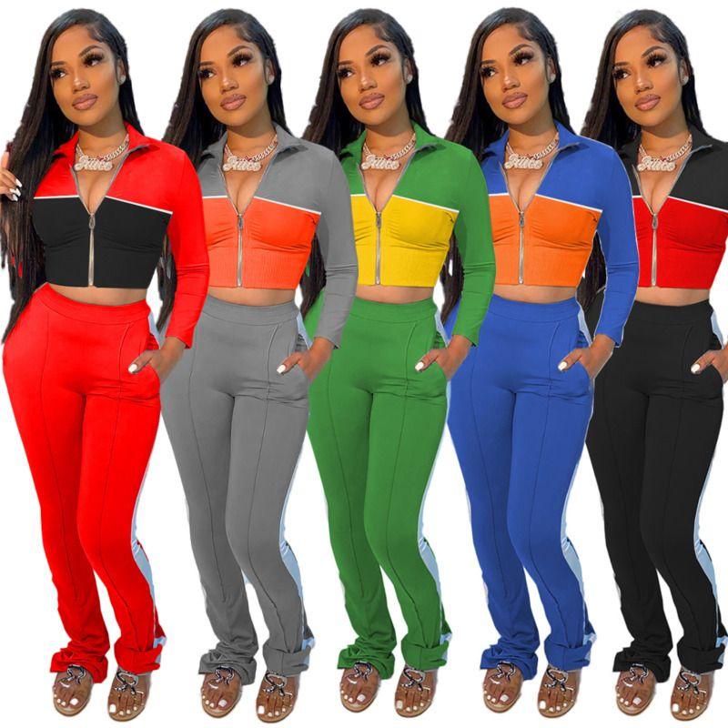 Mujeres 2 Piece chándales sistema ocasional de color panelados pantalones de manga larga superior lado largo de las correas de deporte de las nuevas señoras de moda Ropa informal C18