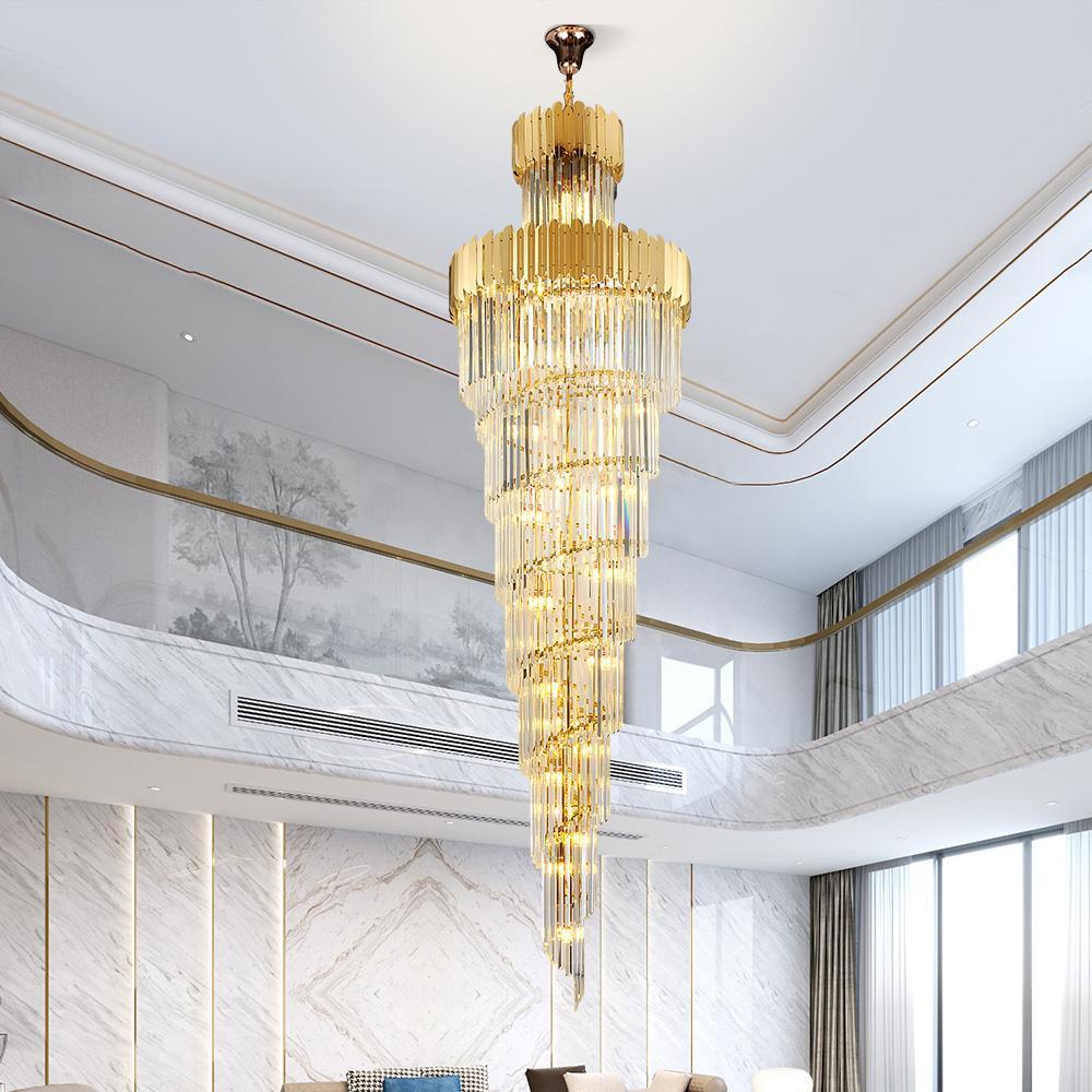 الثريا الكريستال كبير في بناء الوجهين بهو الفندق الفاخر الهندسة فيلا غرفة المعيشة جوفاء الثريا الصمام