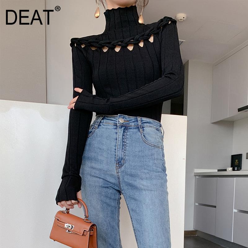 DEAT 2020 Primavera Outono Nova Moda cor sólida manga comprida Knitting Casual mulheres Turleneck sweater temperamento 3AC480