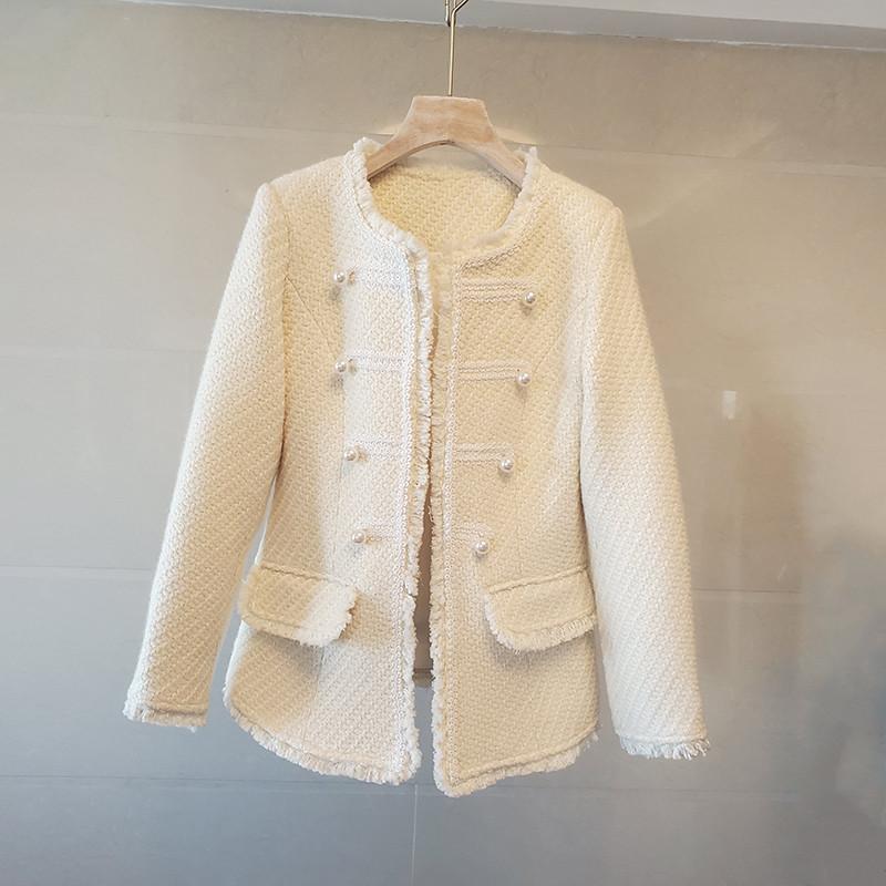 Giacche da donna 2021 Primavera e autunno Cappotto di lana vintage di lusso di lusso di alta qualità Piccola fragranza Piccola fragranza Vento Tessuto a vento Tinta unita Donne Capispalla