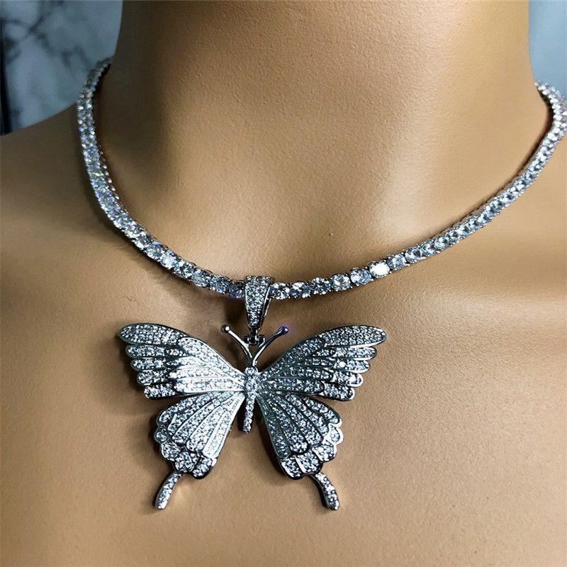 جديد الفضة الذهب الكوبي التنس الزركون سلسلة القلائد الأزياء فاسق تشيكوسلوفاكيا كريستال فراشة قلادة قلادة للنساء