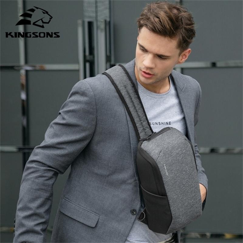 Kingsons Nouveau Style Hommes Fathion Ordinateur portable Coffre grande capacité Voyage imperméable Crossbody sac pour adolescents et homme Y201224