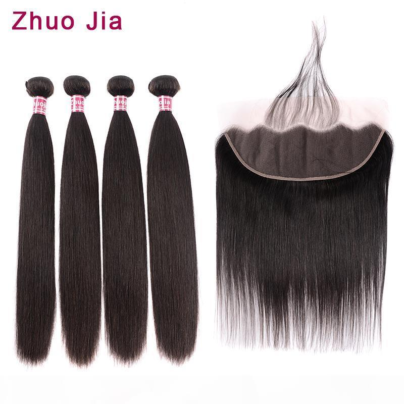 Brazilian Hair Weave Bundles With Frontal ZhuoJia Straight Hair 4 Bundles With Closure Human Hair Bundles With Frontal