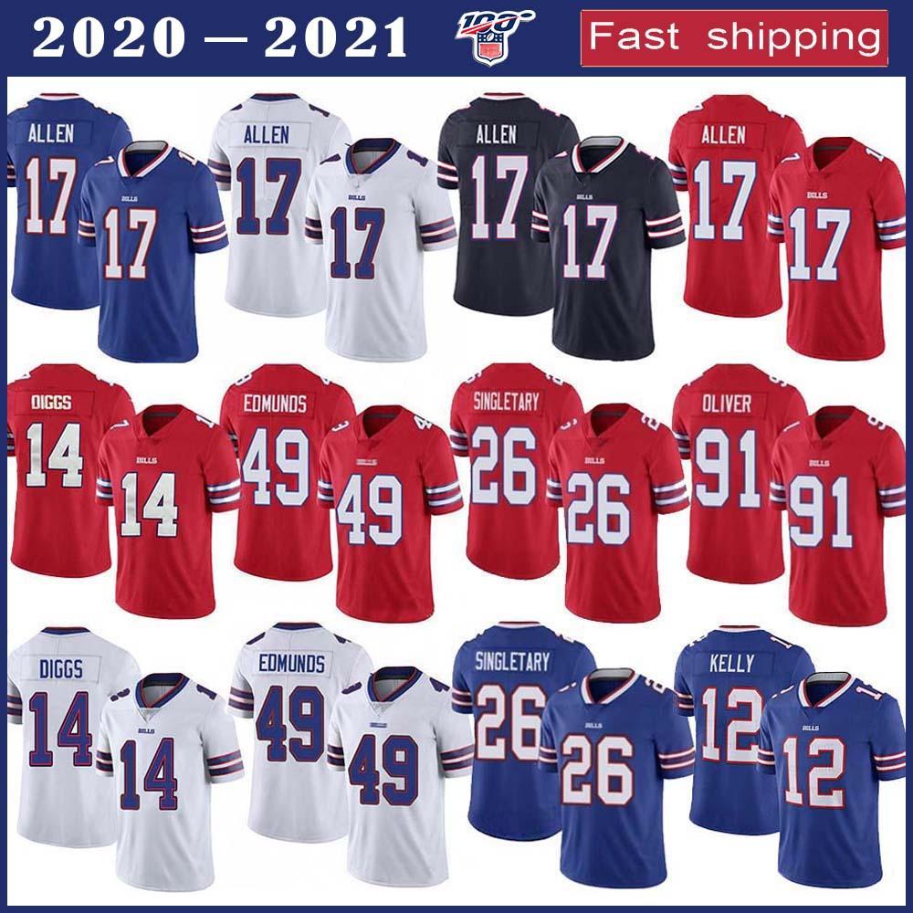 17 Josh Allen BuffaloBill Futbol Jersey 14 Stefon Diggs 49 Tremaine Edmunds 12 Jim Kelly 26 Singletary 91 Oliver Dikişli