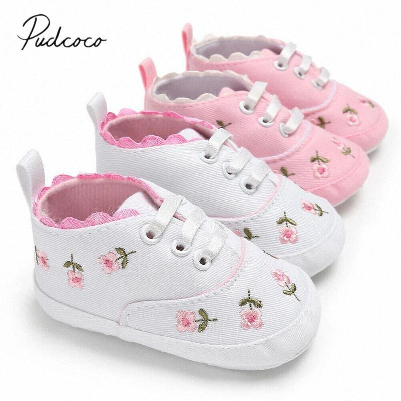 0-18M Baby Shoes Baby Girl Embroidery Flower Soft Sole Crib Shoes Toddler Summer Princess First Walkers Kid Causal UFfE#