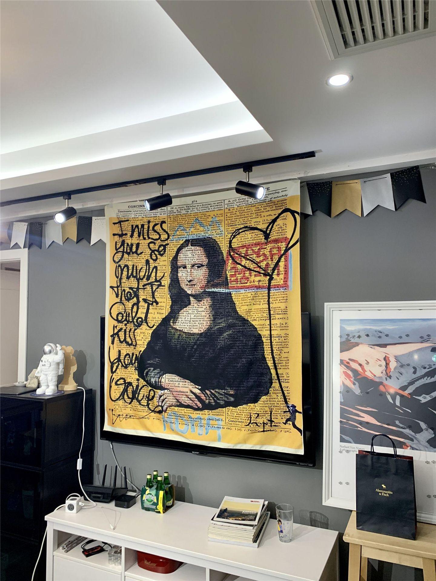 모나리자 낙서 가구 및 장식용 벽걸이 보헤미안 비치 매트 폴리 에스터 담요 요가 매트 홈 침실 예술 카펫